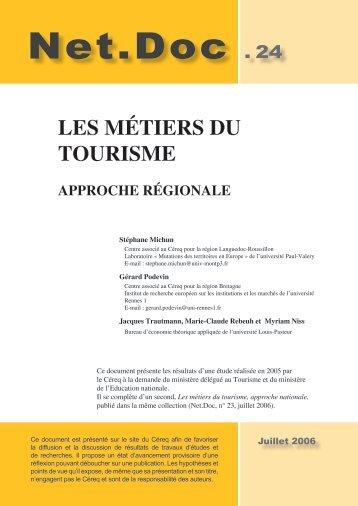 Les métiers du tourisme. Approche régionale - CEREQ Bretagne