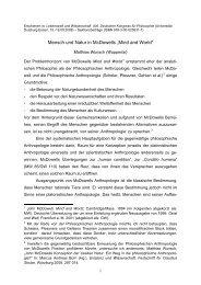 """Mensch und Natur in McDowells """"Mind And World"""""""