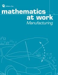 Mathematics at Work – Manufacturing - Achieve