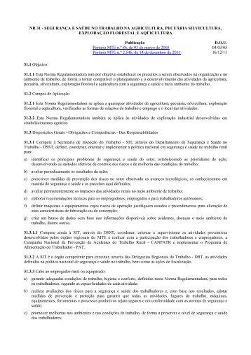 NR 31 - Ministério do Trabalho e Emprego
