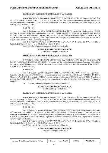 portarias das coordenações regionais publicado em 23.05.11 - Funai