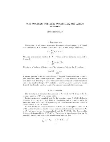 THE JACOBIAN, THE ABEL-JACOBI MAP, AND ABEL'S THEOREM ...