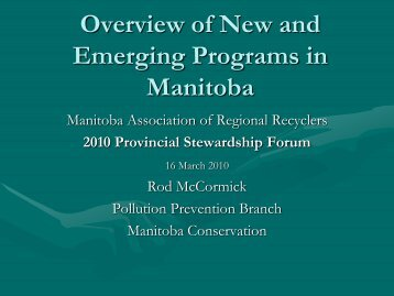 Overview of New and Emerging Programs in Manitoba - MARR