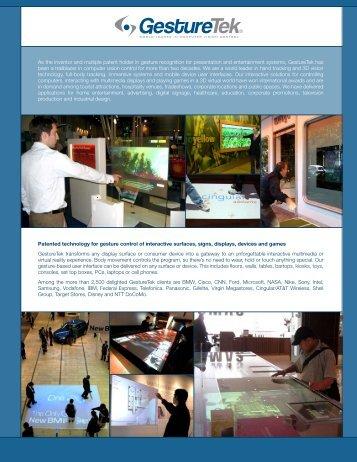 Patented technology for gesture control of interactive ... - GestureTek