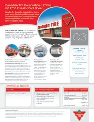 Canadian Tire Corporation, Limited Q3 2010 Investor Fact Sheet