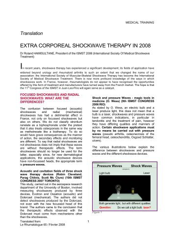 EXTRA CORPOREAL SHOCKWAVE THERAPY IN 2008 - ESWT