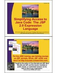 The JSP 2.0 Expression Language - Custom Training Courses ...