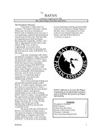 Lammas - Bay Area Pagan Assemblies