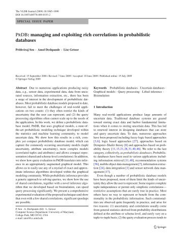 managing and exploiting rich correlations in probabilistic ... - Linqs