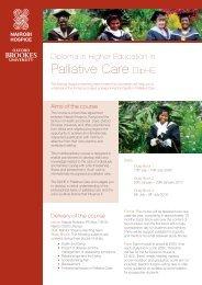 Palliative Care DipHE - Oxford Brookes University
