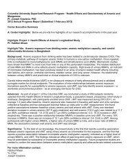 Columbia University Superfund Basic Research ... - Columbia SRP