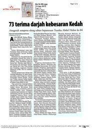 73 terima darjah kebesaran Kedah - Wawasan Open University