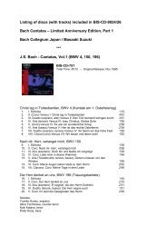 Listing of discs (with tracks) included in BIS-CD-9024/26 Bach ...