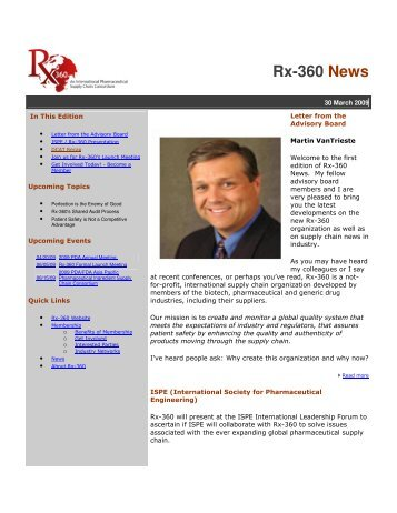 Rx-360 News - Active Pharmaceutical Ingredients Committee
