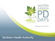 Northern Health Authority Peritoneal Dialysis ... - BC Renal Agency