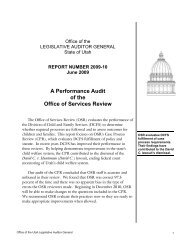 A Performance Audit of the Office of Services Review - Utah State ...