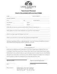 Teen Court Volunteer Application Packet - Lake County