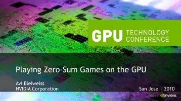 Playing Zero-Sum Games on the GPU