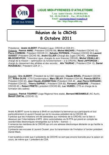 Réunion de la CRCHS 08 Octobre 2011 - Ligue des Midi-Pyrénées ...