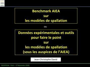 Benchmark IAEA sur les modèles de spallation - gedepeon