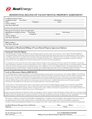 residential billing of vacant rental property agreement - Xcel Energy