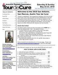 Route Highlights - Tour de Cure - American Diabetes Association