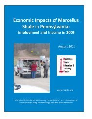 Economic Impacts of Marcellus Shale in Pennsylvania: Employment