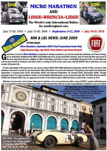 June 2009 Newsletter - Liège-Brescia-Liège