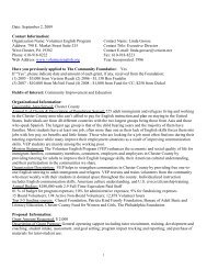Date: September 2, 2009 Contact Information - Chester County ...