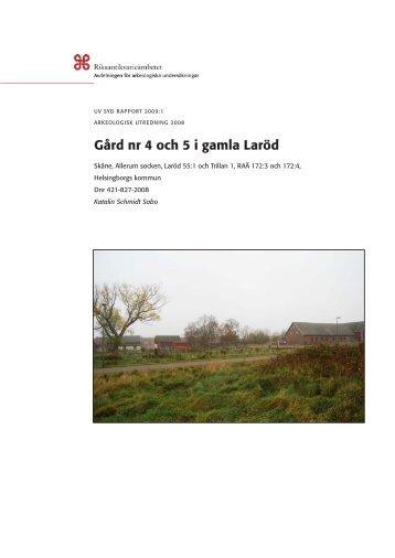 UV Syd Rapport 2009:1 - arkeologiuv.se