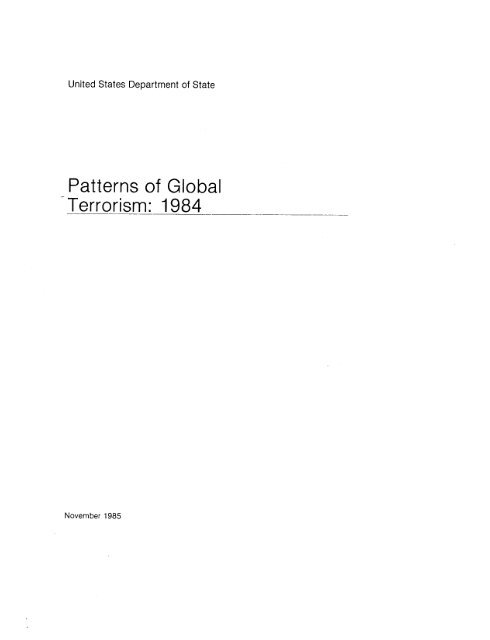 Patterns of Global Terrorism: 1984 - - Higgins Counterterrorism ...