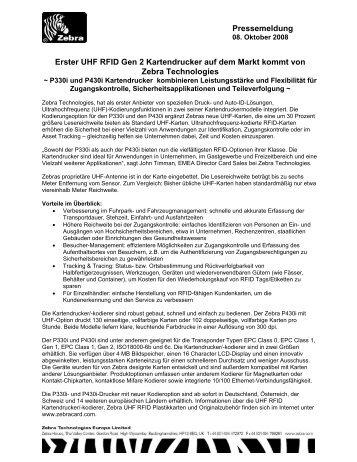 Erster UHF RFID Gen 2 Kartendrucker auf dem - Zebra