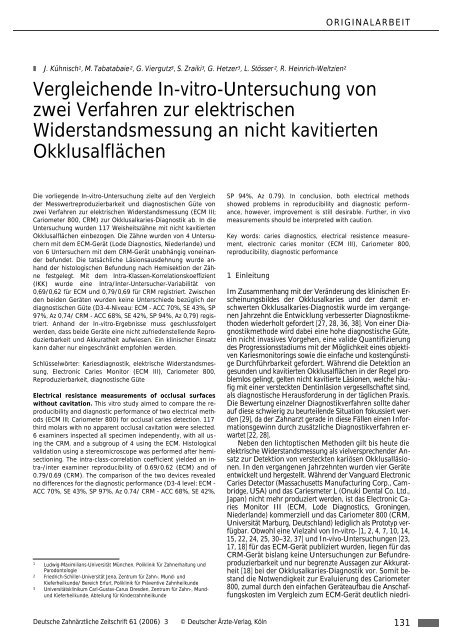 Vergleichende In-vitro-Untersuchung von zwei ... - Zahnheilkunde.de
