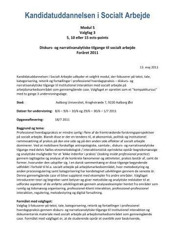 Modul 5 - Kandidatuddannelsen i Socialt Arbejde - Aalborg Universitet
