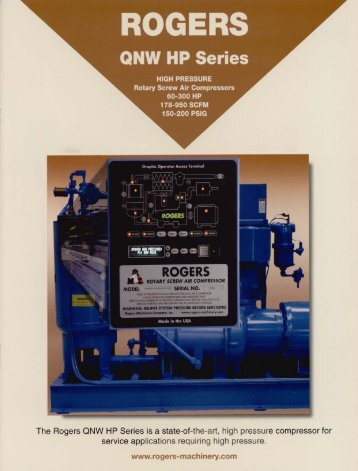 The Rogers QNW HP Series is a state-of-the-art, high pressure ...