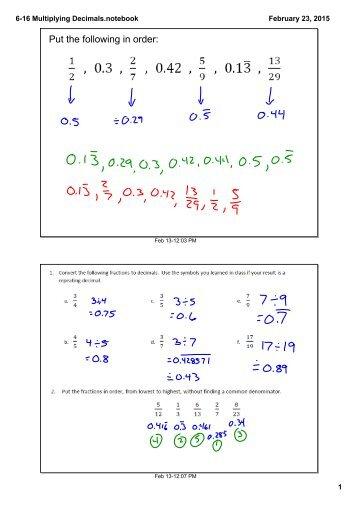 6-16 Multiplying Decimals.notebook