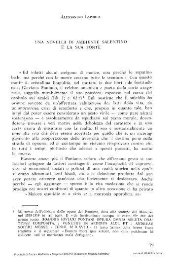 UNA NOVELLA DI AMBIENTE SALENTINO E LA ... - culturaservizi.it
