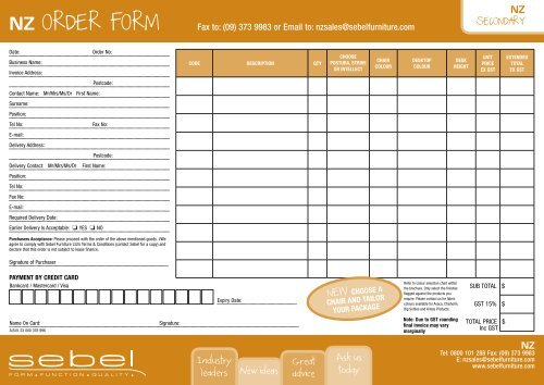NZ ORDER FORM - Sebel