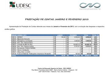 prestação de contas janeiro e fevereiro 2013 - CeO - Udesc