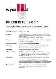 preisliste 2 0 1 1 - Wyss Zäune AG