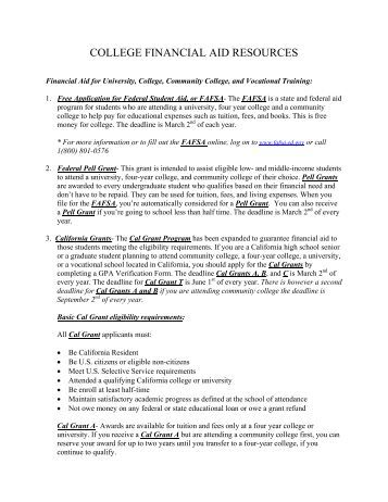 financial aid resources - Foster Care Ombudsman Program of ...