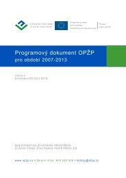 Programový dokument OPŽP - Strukturální fondy Evropské unie