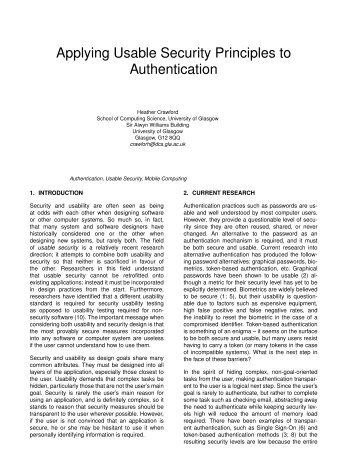 Applying Usable Security Principles to Authentication - Computing ...