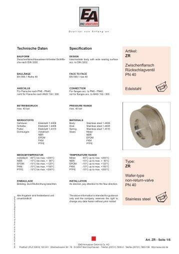 ZR Wafer-type non-return-valve PN 40 Stainless steel