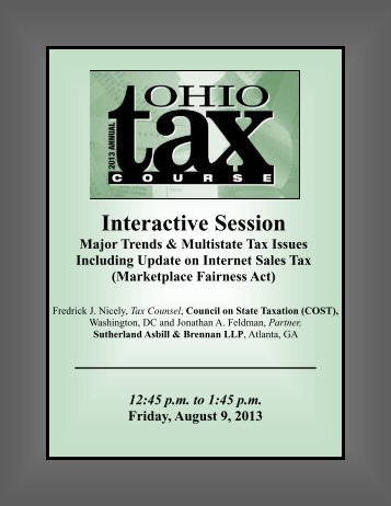 Interactive Session on Major Trends & Multistate Tax Issues ...