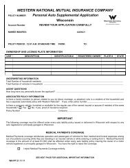 Revised Personal Auto Forms - Western National Insurance Group