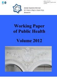 Working Paper of Public Health Volume 2012 - Azienda Ospedaliera ...