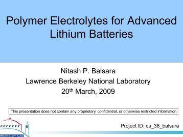Polymer Electrolytes for Advanced Lithium Batteries - EERE