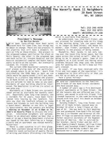 WB11 Neighbors Newsletter — November, 2007 - Greenwich ...