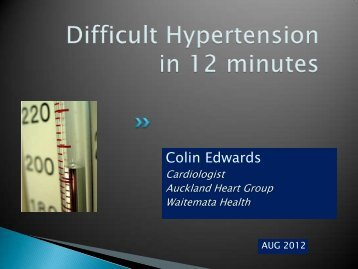 The patient with difficult hypertension - Auckland Heart Group